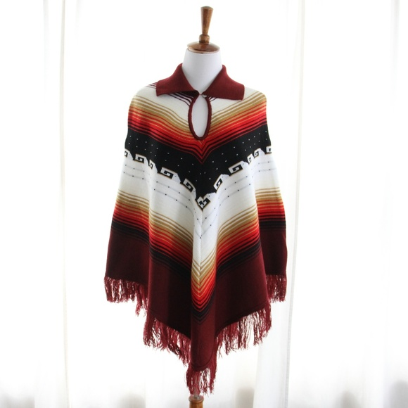 Vintage Sweaters - 70s Vintage Woven Collared Poncho Ikat Southwest
